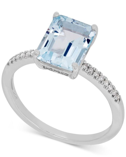 Macy's - Blue Aquamarine (2-1/10 Ct. T.w.) And Diamond (1/10 Ct. T.w.) Ring In 14k White Gold - Lyst