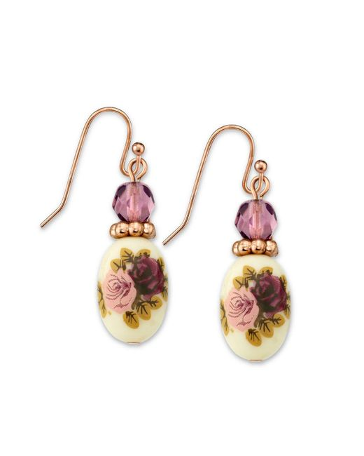 2028 - Metallic Rose Gold Tone Purple Crystal Bead Flower Drop Earrings - Lyst