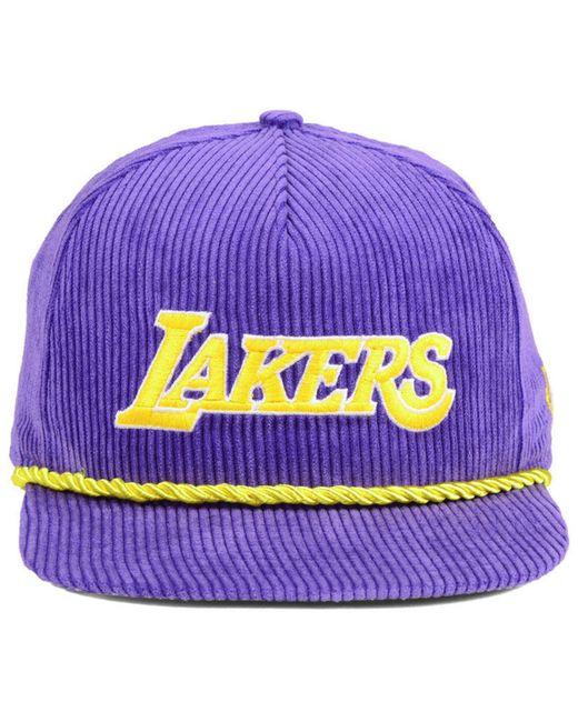 c53fc4f3677 ... KTZ - Purple Los Angeles Lakers Hardwood Classic Nights Cords 9fifty  Snapback Cap for Men ...