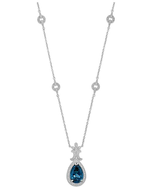 Macy's | London Blue Topaz (6-3/4 Ct. T.w.) And Diamond (1/10 Ct. T.w.) Pendant Necklace In Sterling Silver | Lyst