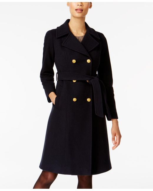 Anne Klein | Blue Double-breasted Belted Trench Coat | Lyst