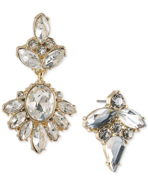 ABS By Allen Schwartz | White Gold-tone Crystal Mismatch Earrings | Lyst