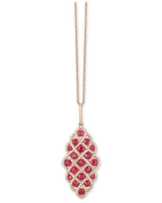 Effy Collection | Red Ruby (1-3/4 Ct. T.w.) And Diamond (1/2 Ct. T.w.) Pendant Necklace In 14k Rose Gold | Lyst