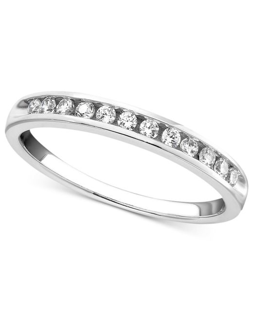 Macy's | Metallic Diamond Band Ring In 14k White Gold (1/4 Ct. T.w.) | Lyst