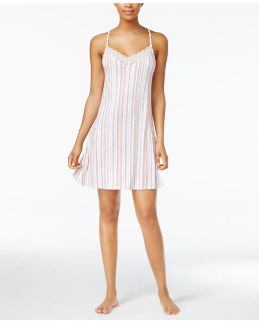Lucky Brand   White Lace-trimmed Printed Knit Nightgown   Lyst