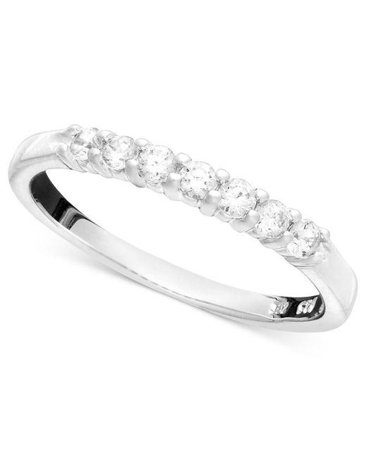 Macy's | Metallic Seven Diamond Band Ring In 14k Yellow Or White Gold (1/4 Ct. T.w.) | Lyst