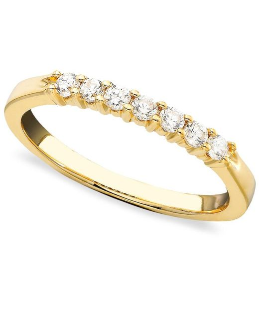 Macy's   Metallic Seven Diamond Band Ring In 14k Yellow Or White Gold (1/4 Ct. T.w.)   Lyst