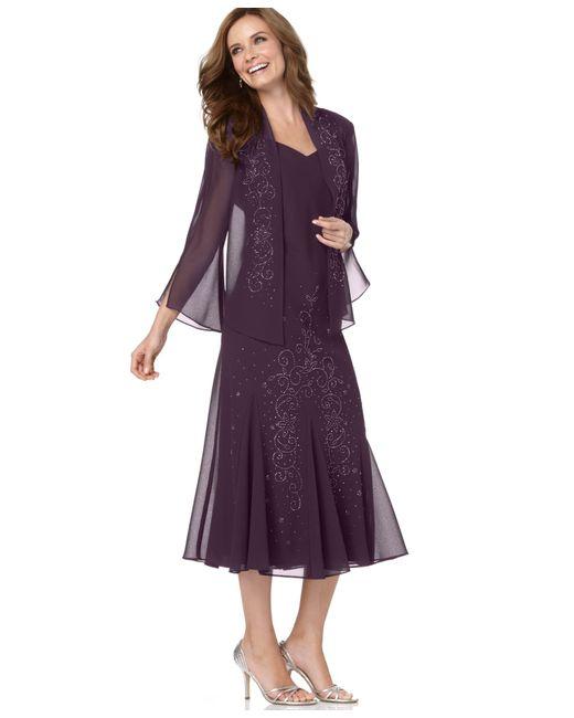 R & M Richards | Purple R&m Richards Sleeveless Beaded V-neck Dress And Jacket | Lyst