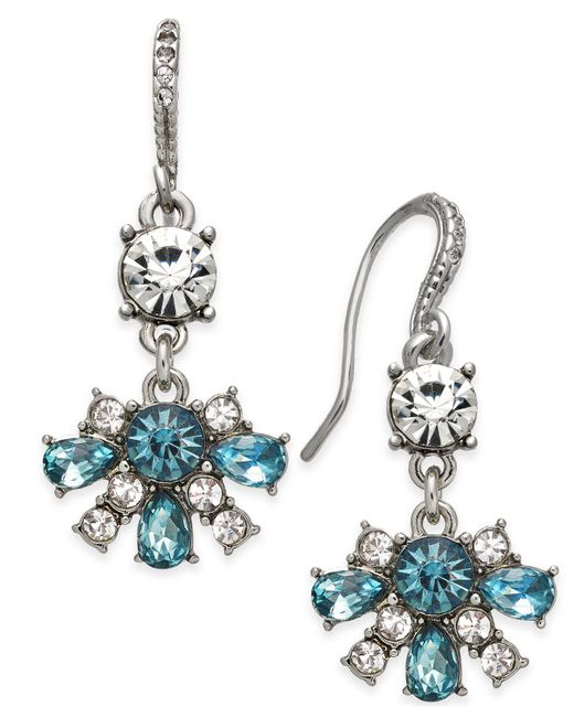Charter Club | Blue Clear & Colored Crystal Drop Earrings | Lyst