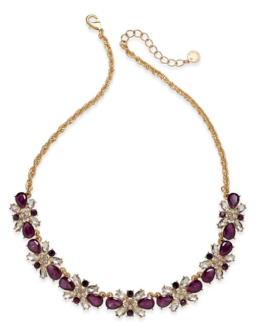 Charter Club | Purple Clear & Colored Crystal Necklace | Lyst