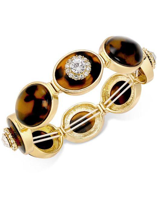 Charter Club | Metallic Gold-tone Crystal & Tortoise-look Stretch Bracelet | Lyst