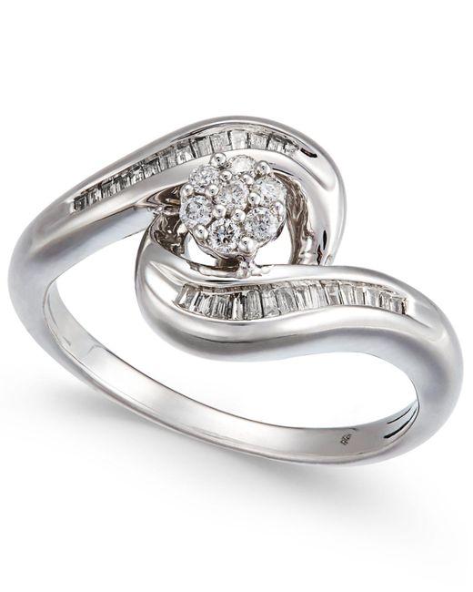 Macy's | Metallic Diamond Swirl Cluster Promise Ring (1/4 Ct. T.w.) In Sterling Silver | Lyst