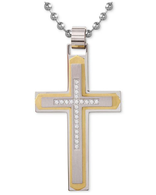 Macy's | Metallic Men's Diamond Cross Pendant Necklace (1/10 Ct. T.w.) In Stainless Steel With Yellow Ion-plate for Men | Lyst