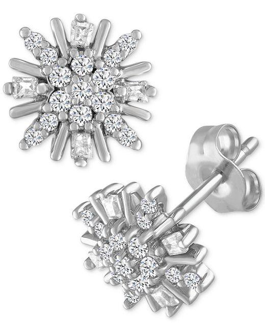 Macy's | Metallic Diamond Cluster Starburst Stud Earrings (1/5 Ct. T.w.) In 10k White Gold | Lyst