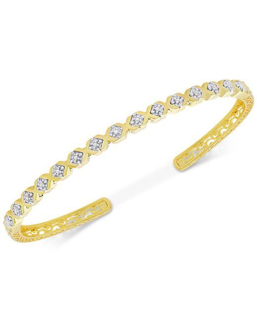 Macy's | Metallic Diamond Accent Xo Cuff Bracelet In Gold Over Brass | Lyst