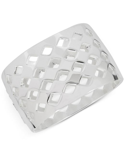 Touch Of Silver | Metallic Openwork Wide Hinged Bangle Bracelet In Silver-plate | Lyst