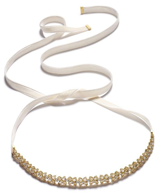 Kate Spade | Metallic Gold-tone Crystal Cluster Ribbon Choker Necklace | Lyst
