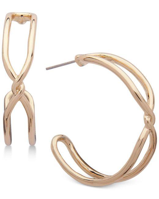 Anne Klein | Metallic Gold-tone Twist Open Hoop Earrings | Lyst