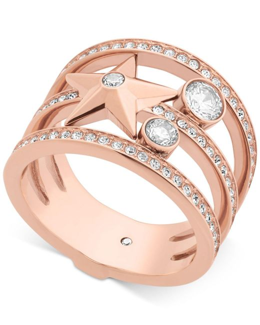 Michael Kors | Pink Rose Gold-tone Stainless Steel Crystal & Star Ring | Lyst