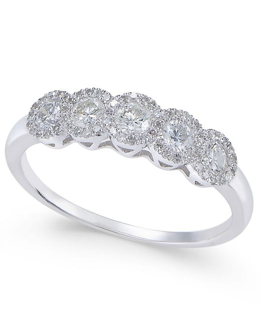 Macy's | Metallic Diamond Five-stone Halo Ring (1/2 Ct. T.w.) In 14k White Gold | Lyst