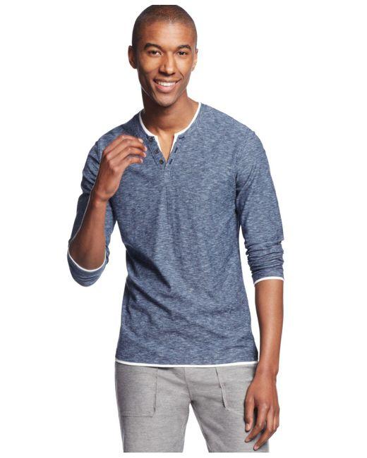 INC International Concepts - Blue Popular Guy Long-sleeve Split-neck T-shirt for Men - Lyst