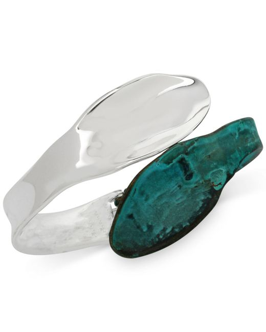 Robert Lee Morris - Metallic Silver-tone Patina Sculptural Hinged Bangle Bracelet - Lyst