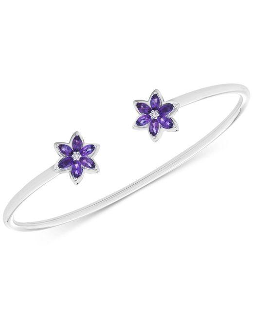 Macy's | Metallic Amethyst (1 Ct. T.w.) & Diamond Accents Flower Bangle Bracelet In Sterling Silver | Lyst
