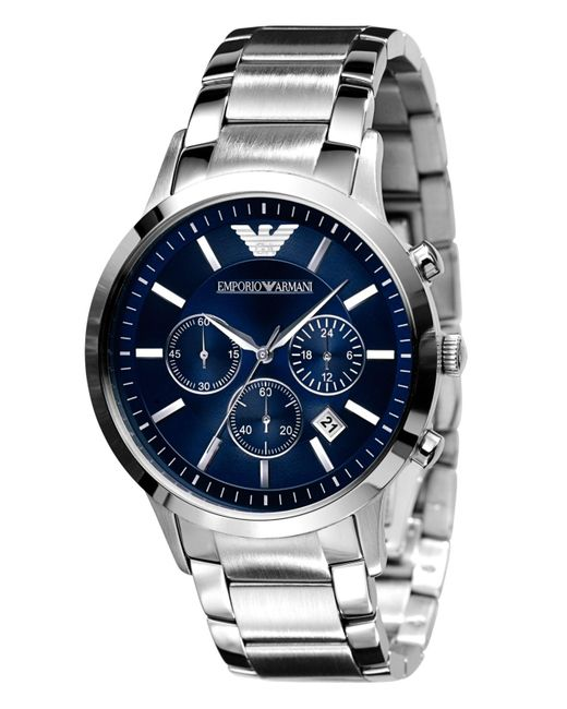 Emporio Armani | Gray Slim Stainless Steel Chronograph Watch for Men | Lyst