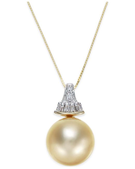 Macy's - Metallic Cultured Golden South Sea Pearl (12mm) And Diamond (1/8 Ct. T.w.) Pendant Necklace In 14k Gold - Lyst
