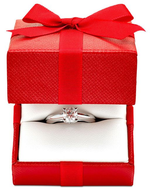 Macy's   Metallic Certified Diamond Solitaire Engagement Ring (1 Ct. T.w.) In 14k White Or Two-tone Gold   Lyst