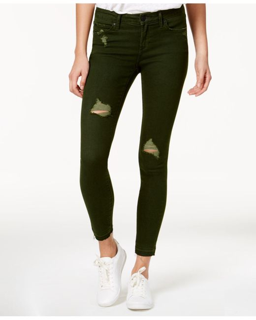 Articles Of Society | Sara Colored Denim Distressed Skinny Jeans, Dark Green Wash | Lyst