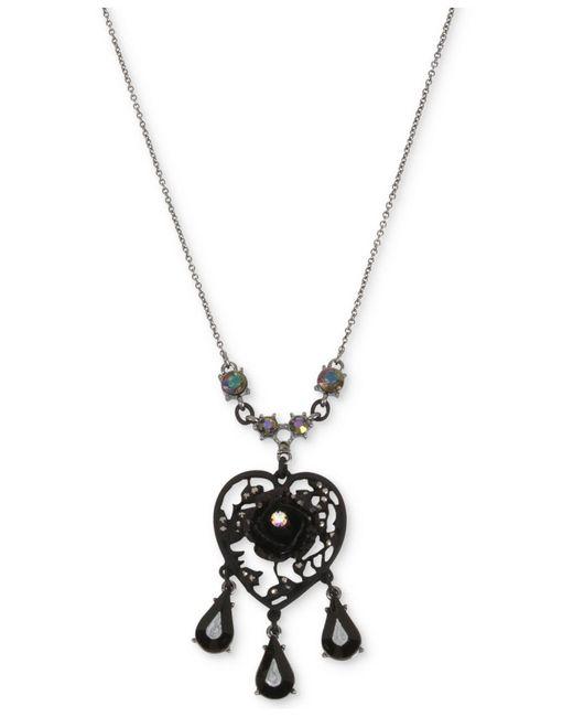 Betsey Johnson | Black Hematite-tone Filigree Heart Flower & Jet Stone Pendant Necklace | Lyst