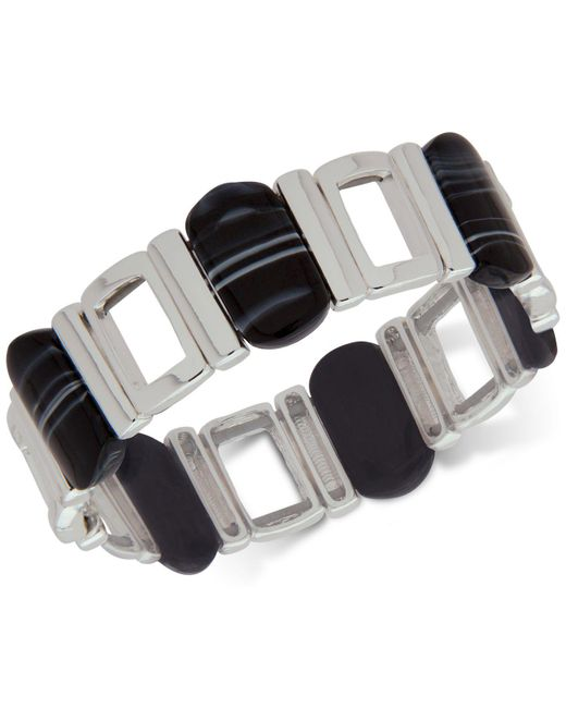 Nine West | Silver-tone Black Stone Stretch Bracelet | Lyst