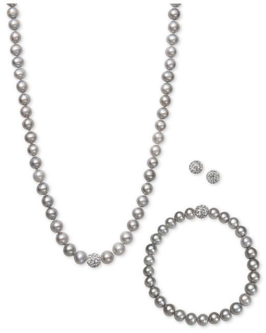 Macy's - White, Gray Or Pink Cultured Freshwater Pearl (7mm) And Crystal Collar Jewelry Set - Lyst