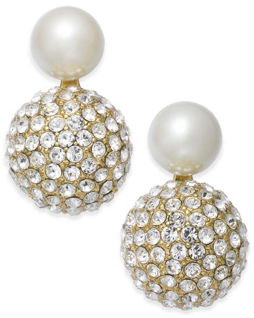 Kate Spade - Metallic Gold-tone Imitation Pearl And Fireball Drop Earrings - Lyst