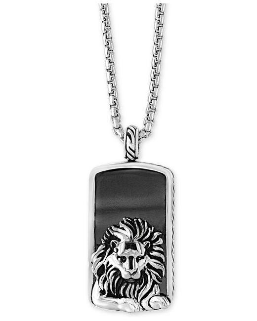 Effy Collection - Metallic Men's Hematite (36 X 20mm) Lion Dog Tag Pendant Necklace - Lyst