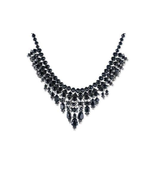 Carolee | Hematite-tone Black Stone Beaded Statement Necklace | Lyst