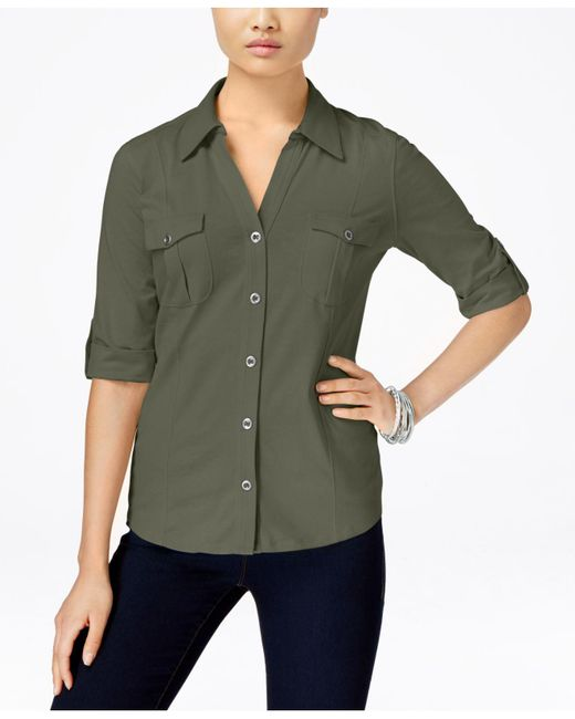 Style & Co. | Green Utility Shirt, Only At Macy's | Lyst
