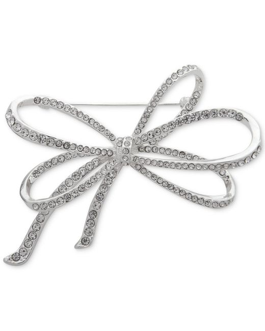 Anne Klein - Metallic Silver-tone Pavé Bow Pin, Created For Macy's - Lyst