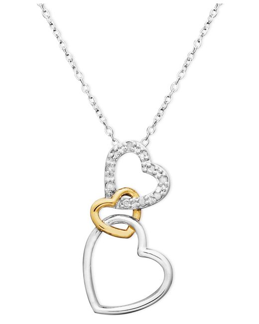 Macy's - Metallic 18k Gold Over Sterling Silver And Sterling Silver Heart Necklace, Diamond Accent Three Interlocking Heart Pendant - Lyst