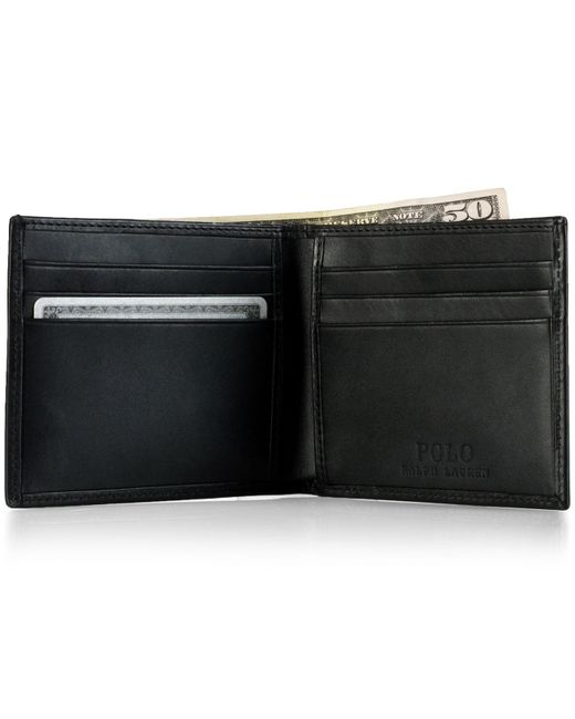 Polo Ralph Lauren - Black Accessories, Burnished Leather Billfold Wallet for Men - Lyst