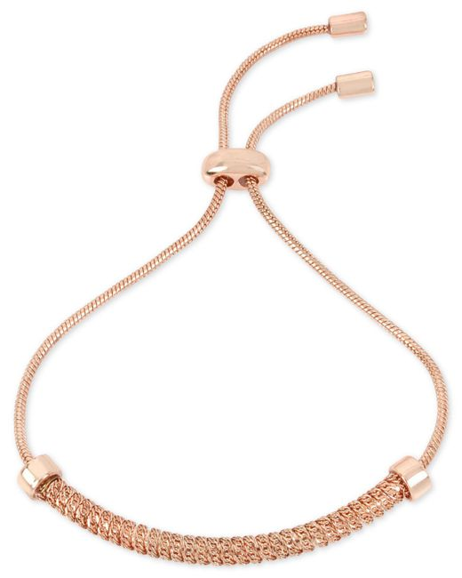 Kenneth Cole - Metallic Rose Gold-tone Textured Chain & Cubic Zirconia Slider Bracelet - Lyst