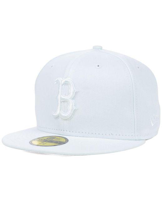 KTZ - Boston Red Sox White-on-white 59fifty Cap for Men - Lyst