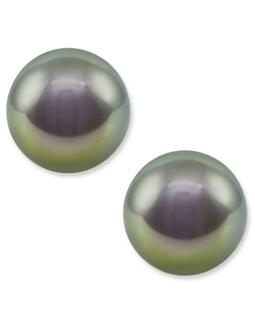 Majorica - White Pearl Earrings, Sterling Silver Gray Organic Man Made Pearl Studs - Lyst