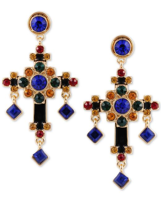 Guess - Metallic Gold-tone Multicolor Crystal Cross Drop Earrings - Lyst
