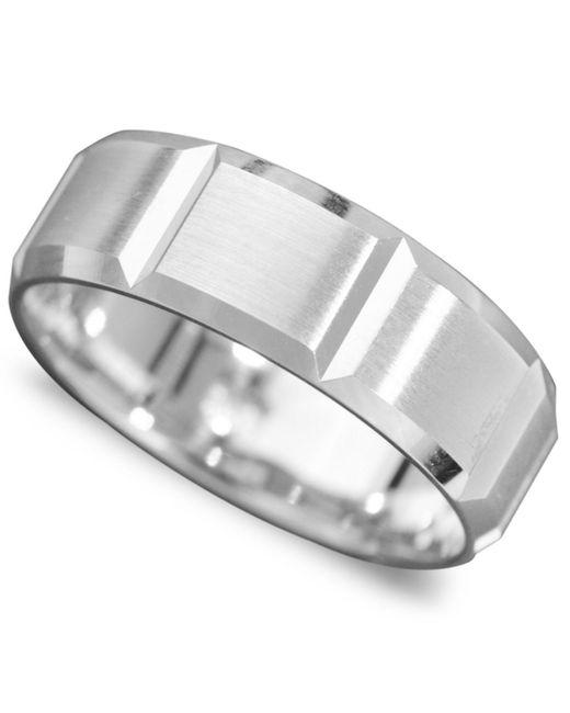 Macy's | Men's 14k White Gold Ring, Vertical Cut Band (size 6-13) for Men | Lyst