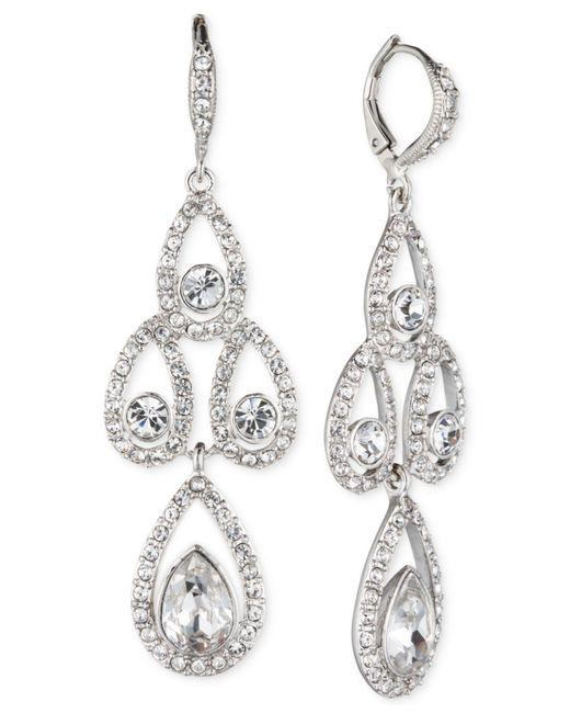 Givenchy - Metallic Silver-tone Crystal Pear Open Chandelier Earrings - Lyst