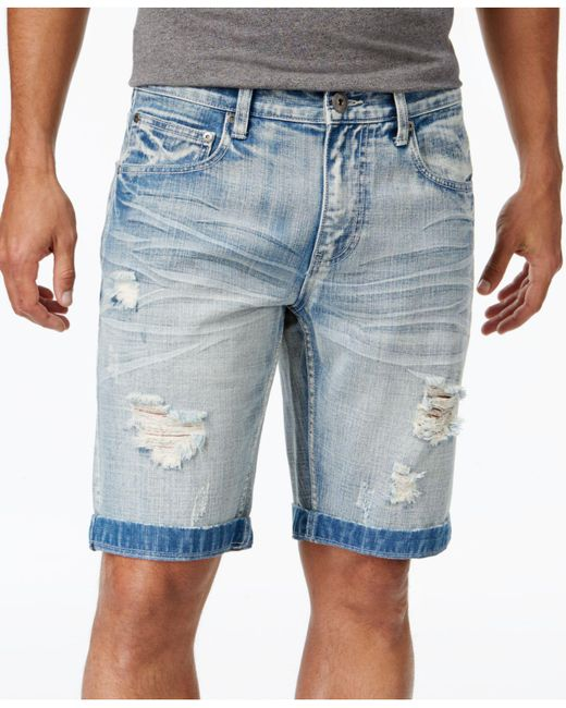 """INC International Concepts - Blue 11"""" Ripped Light Wash Jean Shorts, Created For Macy's for Men - Lyst"""