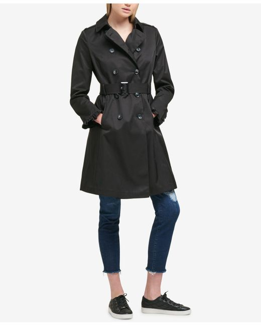 DKNY - Black Belted Ruffle-sleeve Trenchcoat - Lyst