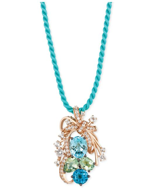 Le Vian - Blue Topaz, Green Quartz And White Topaz Cluster Pendant Necklace In 14k Rose Gold (10-1/5 Ct. T.w.) - Lyst